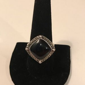 Jewelry - 925 silver, onyx and marcasite ring